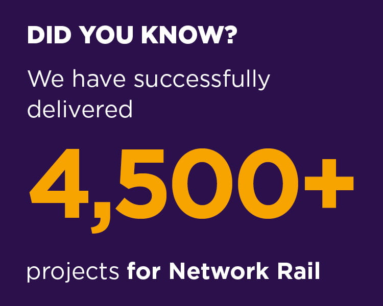 We have successfully delivered 4,500+ projects for Network Rail