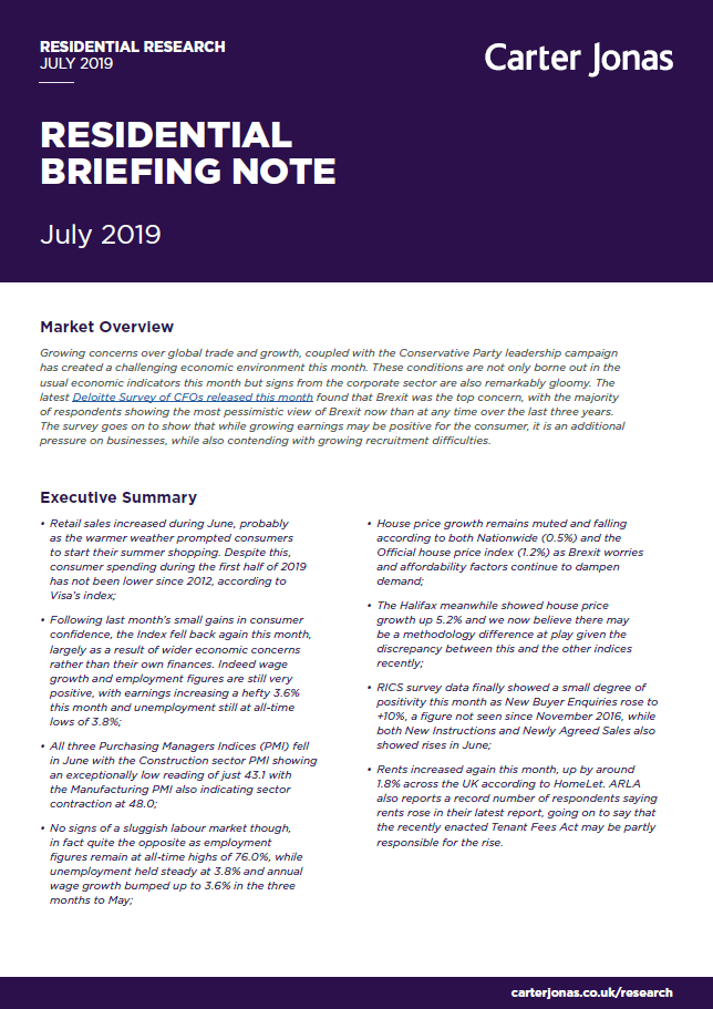 Residential Monthly Briefing | July 2019