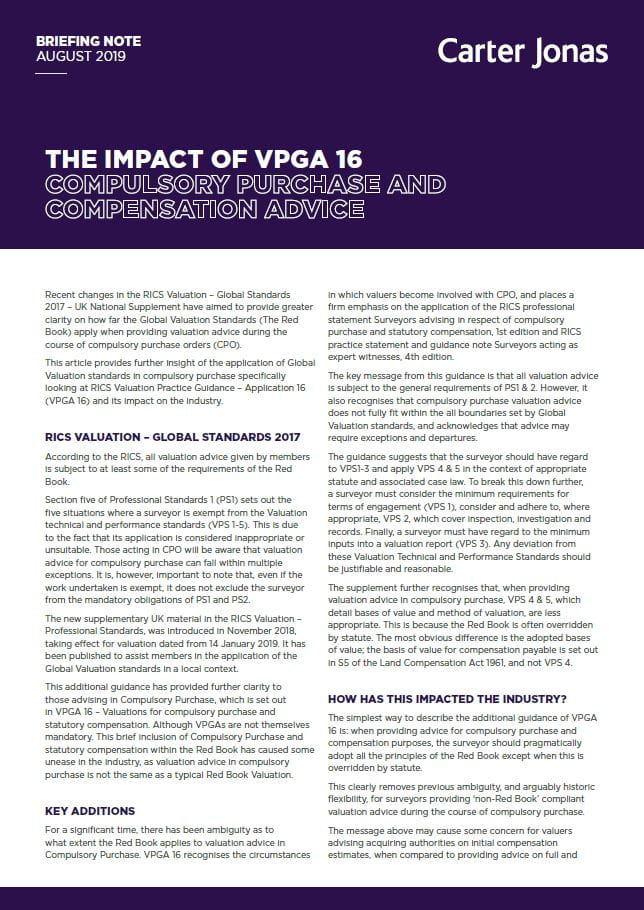 Compulsory purchase and compensation advice - Impact of VPGA 16
