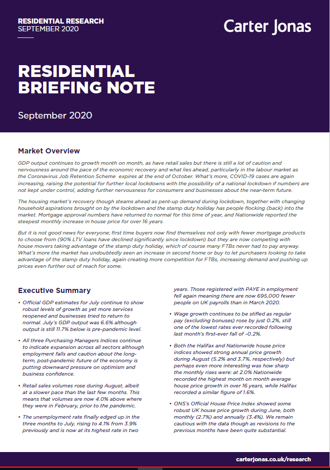 2020 Residential Briefing Note September
