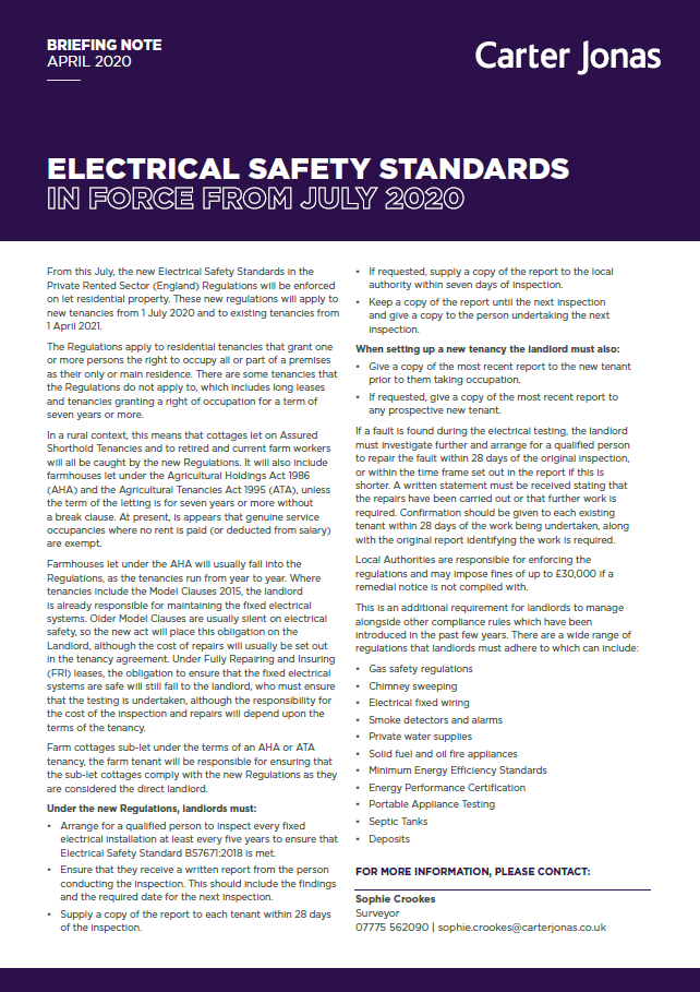 Briefing Note - Electrical Safety Standards