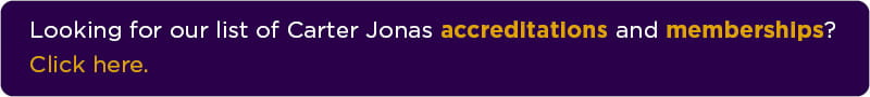 Button with text: Looking for our list of Carter Jonas accreditations and memberships? Click here.
